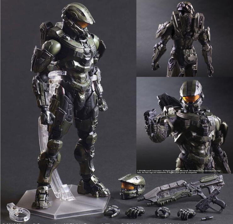 все цены на Game collection Play arts HALO 5 Master Chief model SPARTAN figures original box package pvc Hand model toy онлайн