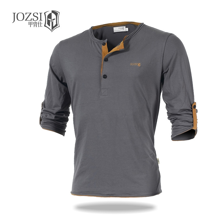 JOZSI  New v - neck long - sleeved sports t - shirt men 's outdoor sports men' s T - shirt  quiksilver men s blockage t shirt