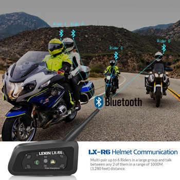 LEXIN 3PCS 1200M Motorcycle Bluetooth Helmet Intercom for 6 Riders BT Wireless Waterproof Interphone Headsets Walkie Talkie GPS