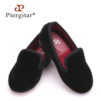 Piergitar 2016 New Handmade Kid Velvet Plain Shoes Party And Wedding Children Loafers Colorful Velvet Choose