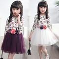 Niños Vestidos Para Niñas de Flores de Impresión Vestidos de Niña 4 5 6 7 8 9 10 11 12 13 14 Años Vestidos de Princesa de Verano 2016 Ropa de Los Niños