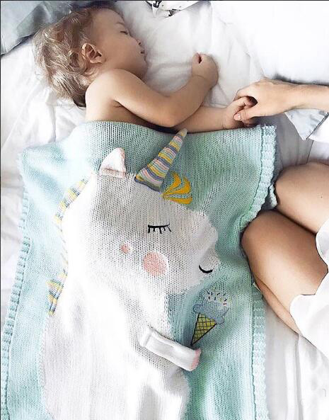 2018 Fashion Knit Blanket Toddler Infant Newborn Baby Blanket Pram Cot Bed Moses Basket Crib Cartoon Sleeping Bag newborn baby blanket bed crib toddler unicorn pattern knit blankets infant soft baby fleece pram crib blanket size 60 120cm