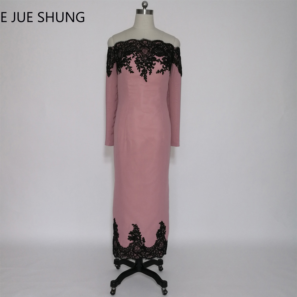 E JUE SHUNG Dusty Pink Black Lace Long Sleeves Ibu Pengantin Pakaian Off Shoulder Ankle Length Evening Dresses
