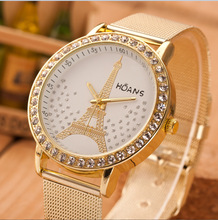 Hot Sale Luxury Brand Fashion Eiffel Tower Watch Women Rhinestone Watches Quartz Stainless Steel Dress Ladies Watch montre Femme