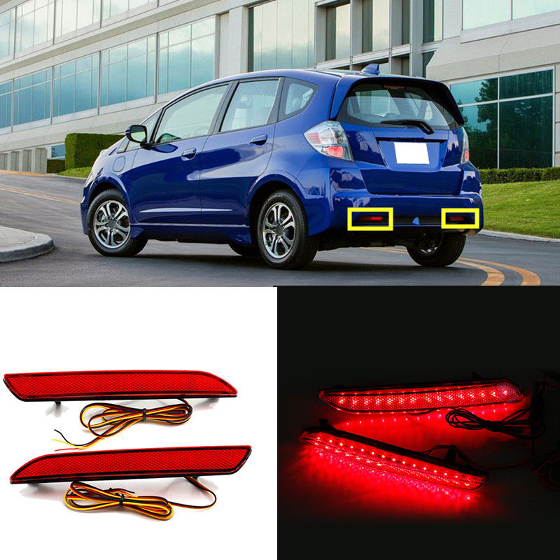 For Honda Fit /JAZZ 2011 2012 2013 2PCS Rear bumper lights Fog lamp lights car rear trunk security shield cargo cover for honda fit jazz 2008 09 10 11 2012 2013 high qualit black beige auto accessories