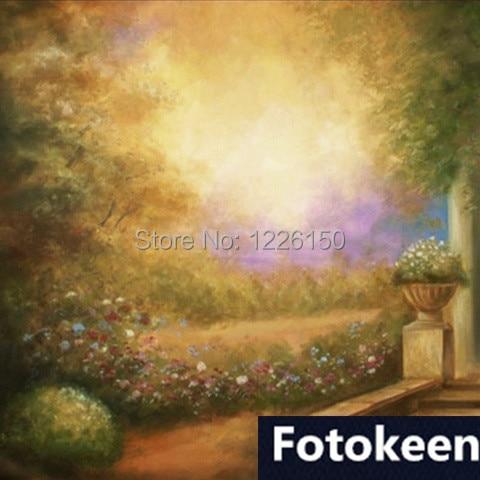 Toile de fond en tissu panoramique peinte à la main 10 * 20ft, photographie fundos FC0032, studio de photographie photo, décors de photographie en mousseline