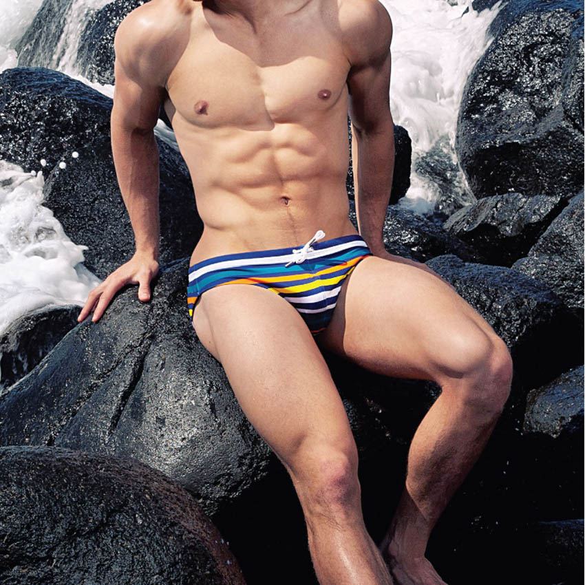 1b2fdc01780d5 Для мужчин полосатый купальник с веревкой Брендовые мужские плавки пляжные  --- для drop-