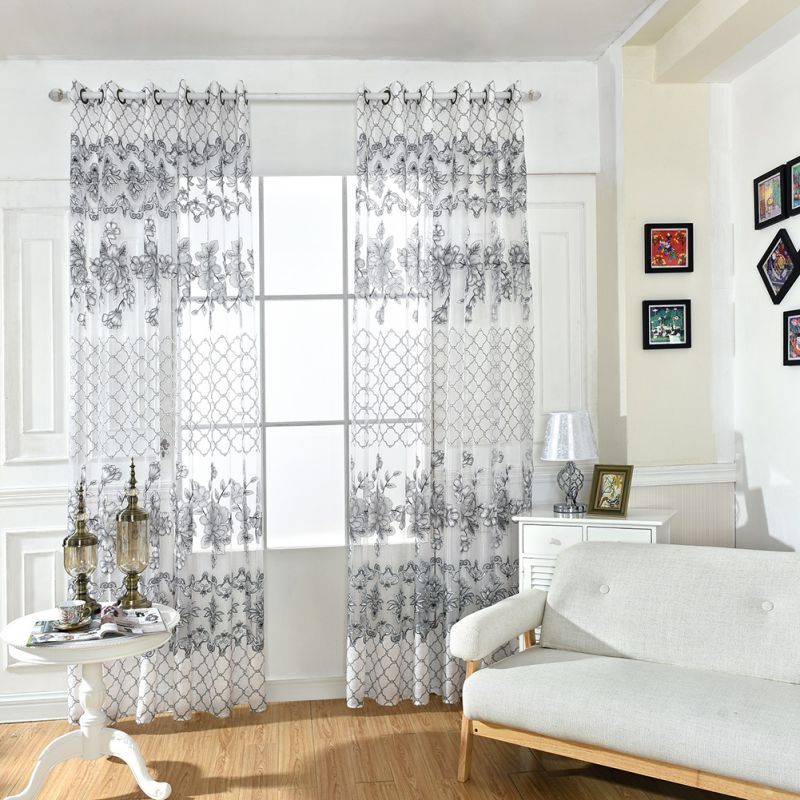 Pastoral Tulle Voile Doors Window Floral Curtain Drape