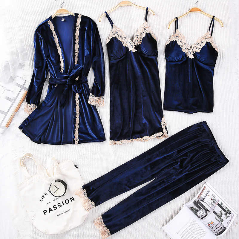 ... Winter Women Velvet Sleepwear Comfortable Loose Lounge Robe Set Lace  Warm 3PCS Pajamas Sleep Suit Kaftan ... 19bb1d31a