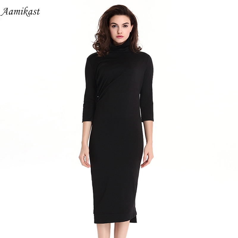 8047eac029c Aamikast Women Vintage Solid Color Dress Business Formal Dresses Black Work  Office Vestidos Women Party Clothing