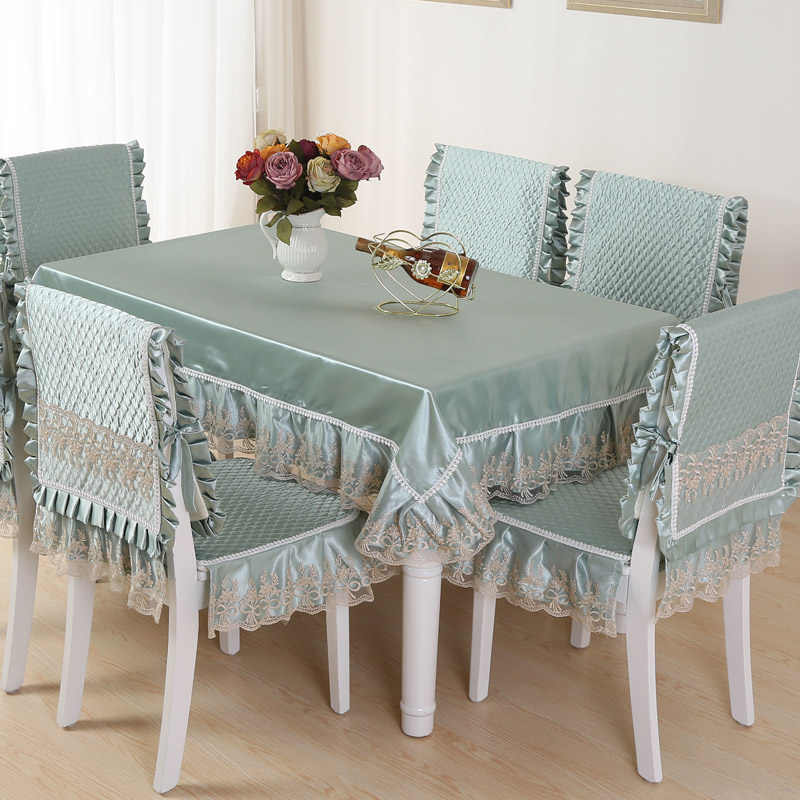 Top Grade Quilting Dining Table Cloth Chair Covers Cushion Tables Chairs Bundle Rustic Lace Set Tablecloth