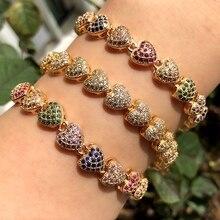 Coração de luxo forma pulseira completa pavimentada colorido zircônia cúbica ouro/prata cor boho pulseiras pulseiras para festa feminina jóias