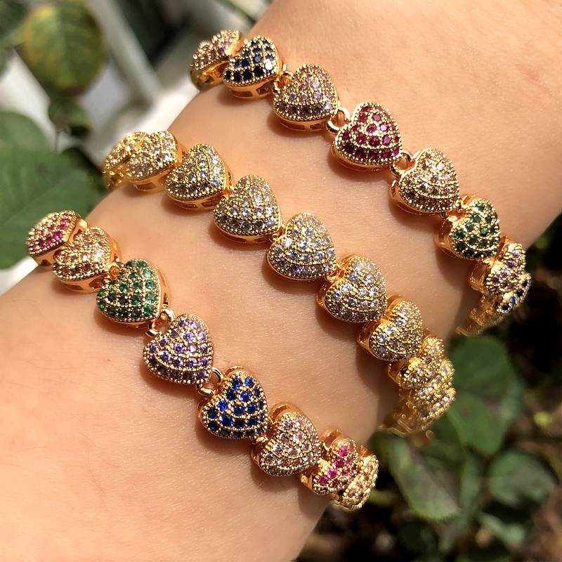 Luxury Heart Shape Bracelet Full Paved Colourful Cubic Zirconia Gold/silver Color Boho Bracelets Bangles For Women Party Jewelry
