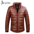 Men's New Design Synthetic PU Leather Parkas Solid Cotton Padded Men Slim Fit Streetwear Outwear Autumn Winter Jacket Men MA177
