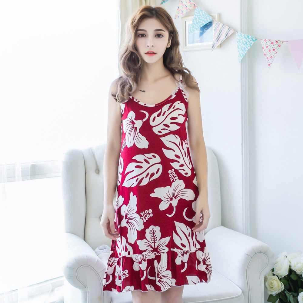 d666de81c2 ... Summer Sexy Korean Night Dress Women s Nightgown Nightwear Cotton  Spaghetti Strap Print Ladies Long Nightdresses Sleepwear ...