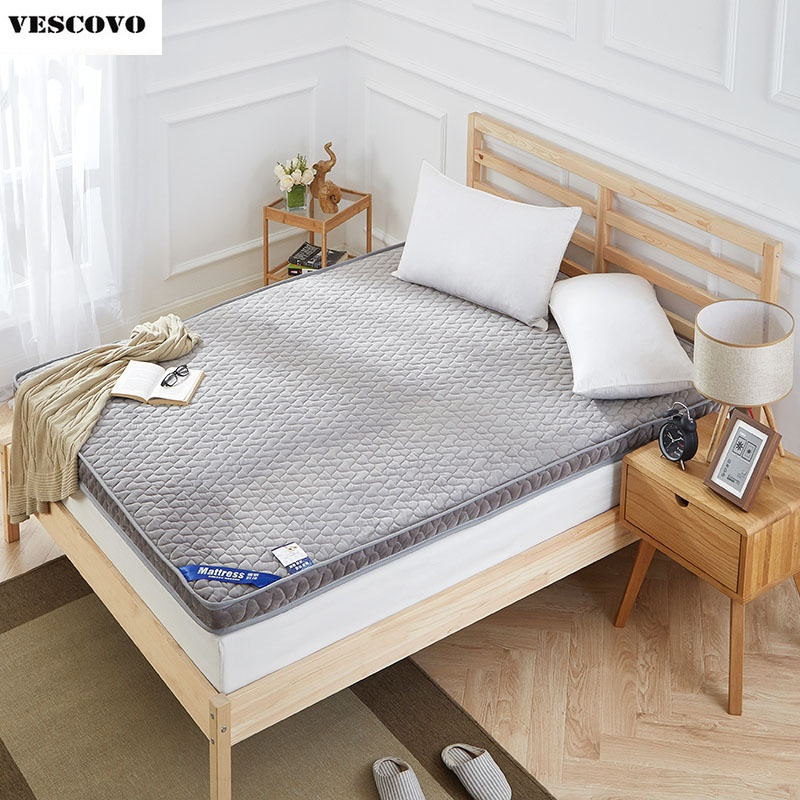 10cm thickness flannel warm velvet mattress king queen full twin size infilling foam bed home furniture