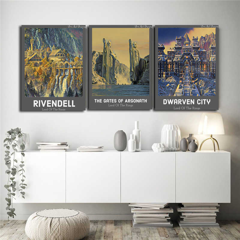 LOTR lord Of The Rings Cartazes Motivacionais Nordic Minimalista Impressões Pintura da Lona Arte Da Parede Pictures Para Quarto Home Decor HD