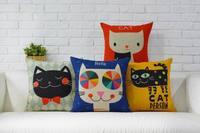 القط وسادة غطاء ، الكرتون الحيوانات الملونة القط رمي سادة القضية وسادة الجملة