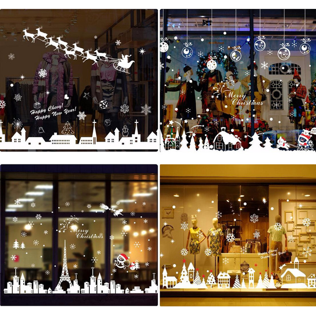 4 style beauty peace christmas eve wall stickers window glasses decals white christmas decoration wall decal