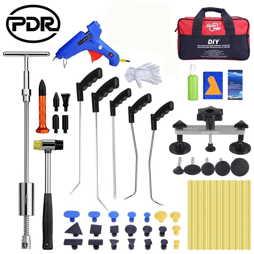 цена на PDR Car Crowbar Tool Set Pry Bat Sets Paintless Dent Repair Tools Ding Hail Puller Suction Cups Glue Sticker