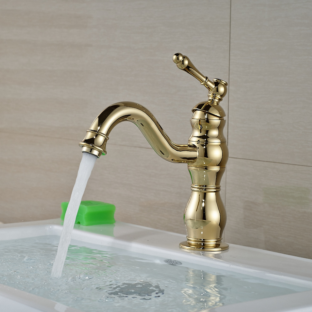 Wholesale And Retail Modern Single Handle Hole Mixer Tap Golden Finish Faucet Solid Brass Bathroom Basin Faucet pastoralism and agriculture pennar basin india