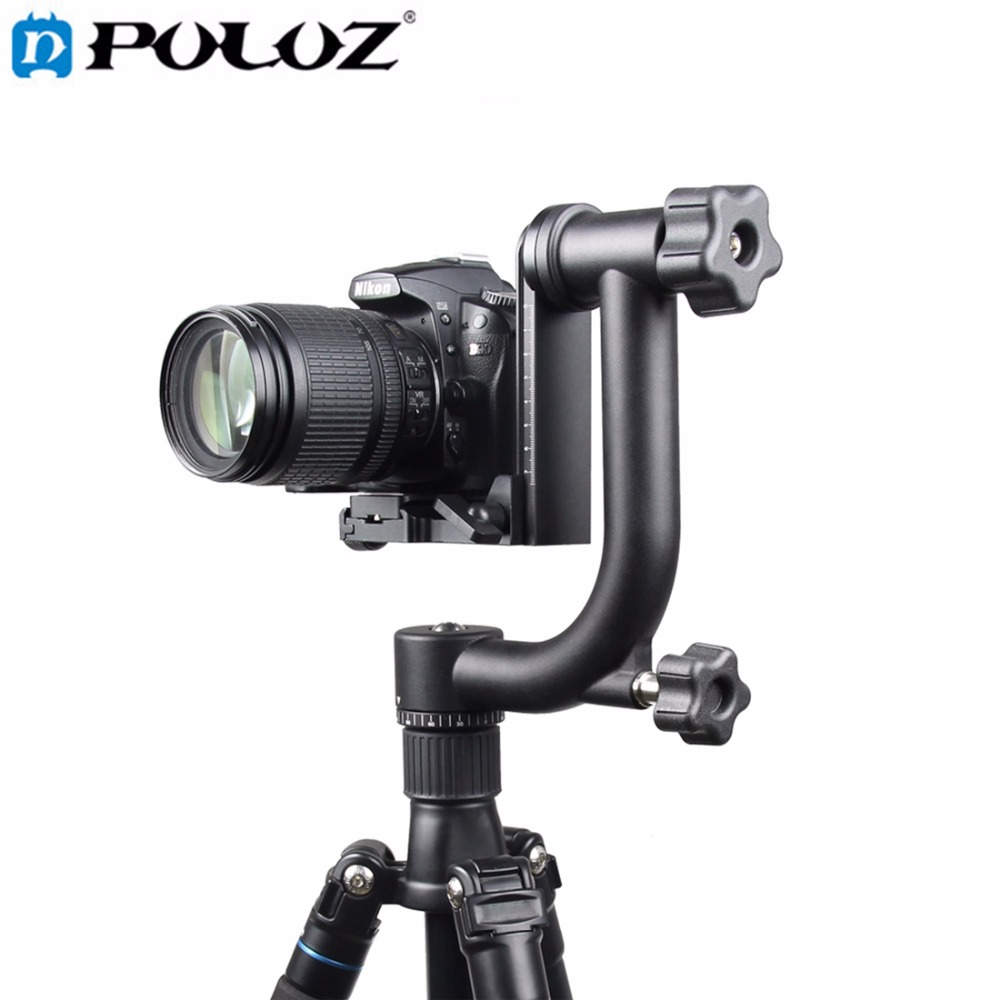 PULUZ YLG0401E 360 Degree Panoramic Gimbal Tripod Head with Quick Release Plate Bubble Level for SLR Cameras and Home DV Camera