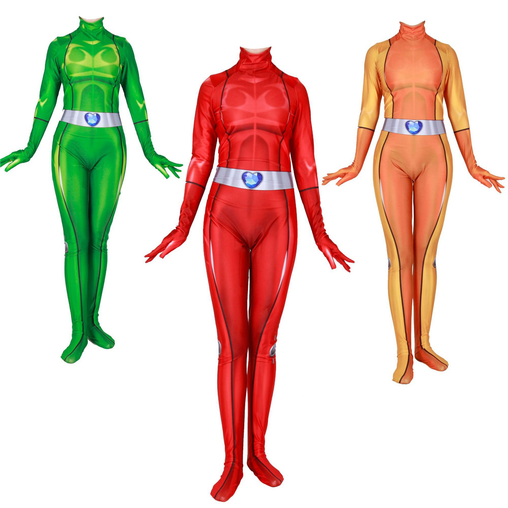 Anime Totally Spies Clover Ewing Samantha Simpson Alexandra Cosplay Costume Bodysuit Suit Zentai Jumpsuits for Women Girls Kids