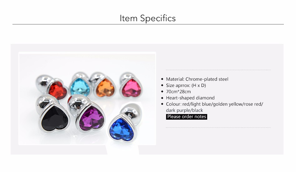 AuReve Hot Sale Smooth Steel Anal Plug Pretty Crystal Heart Shaped Jewelry Metal Butt Plug Sex Toys For Men Women Free Shipping 3