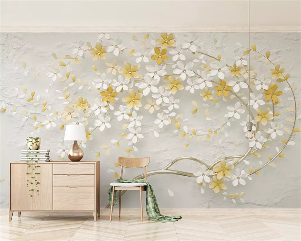 Beibehang Custom Classic Wallpaper New Small Fresh Lemon Yellow 3d