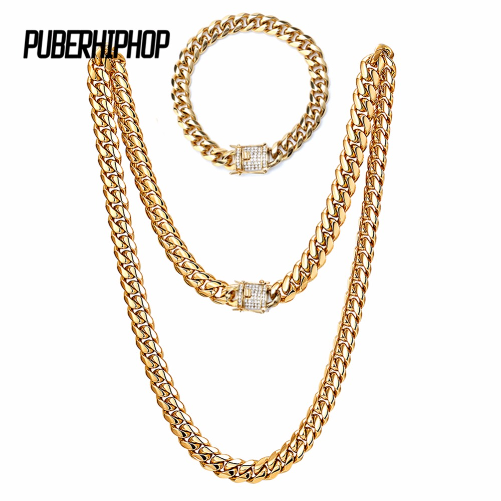 10mm Bling Iced Out Curb Cuban Gold-color Bracelet Necklace Paved Clear Rhinestones Jewelry Set Mens Womens Chain Hiphop Style