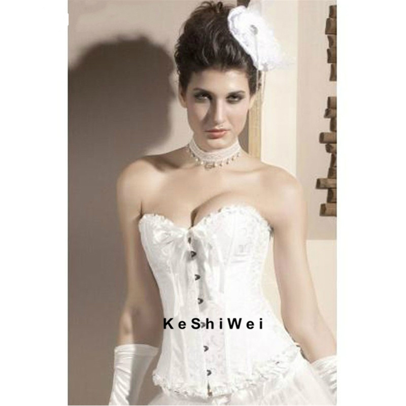 2 Color Hot Sale Satin Lace Up Overbust Sexy Wedding Corsets Bustiers Gothic Corset For Women