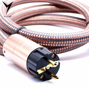 Image 4 - Hi End Hifi amplifier OFC Pure Copper Plated Gold Aluminium alloy Shell AC US EU IEC plug power Cable Cord Wire