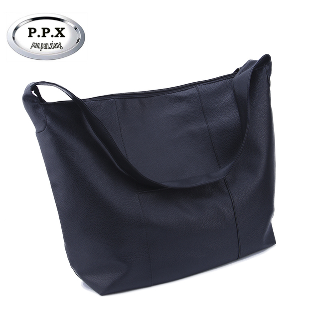 92bf2d050e Simple PU Leather Women Shoulder Bags Large Capacity Ladies Shopping Handbag  Fashion Casual Lady Handbag Black Female Bag 005