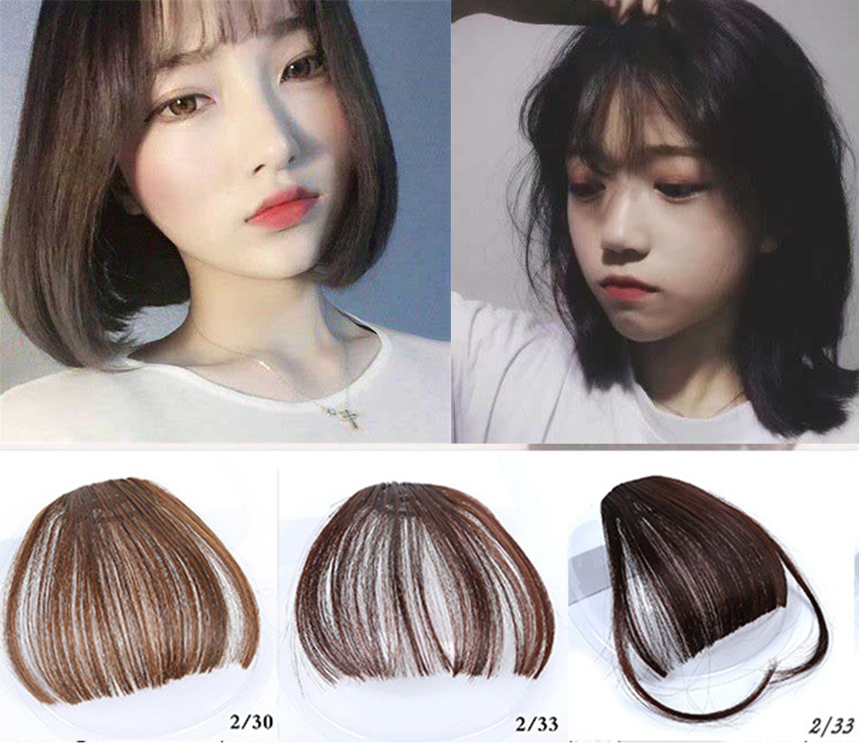 MSTN Korean beautiful girl hair extension bangs straight hair wig clip in front clip hair wig   headwear