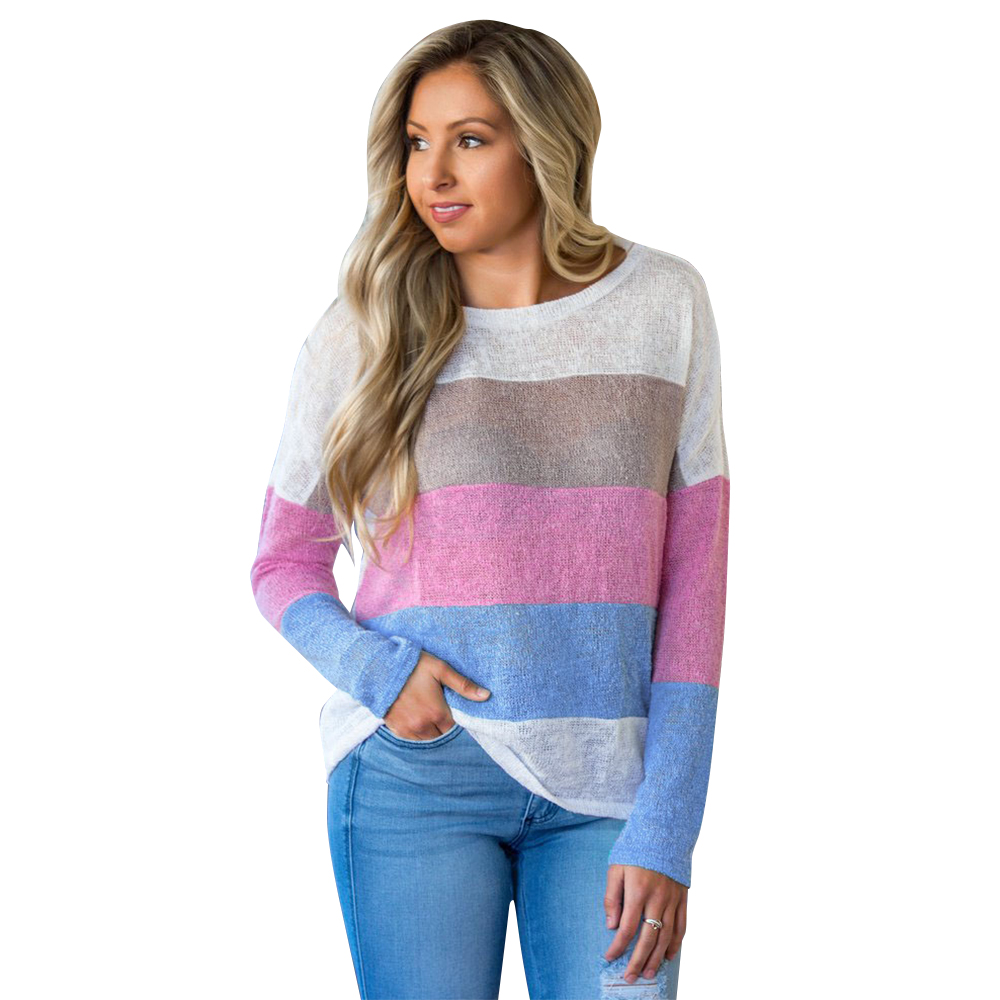 Women Knitting Stitching Tops and Blusas Automne O-Neck Long Sleeve Loose Noble Autume D20