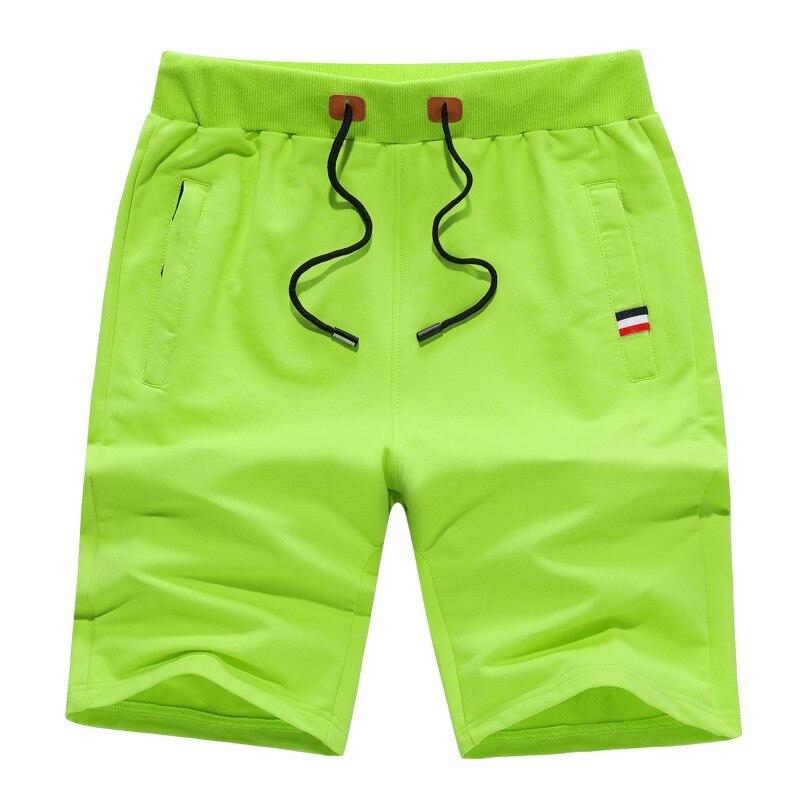 shorts for men cotton Knee Length casual Mens Solid shorts zipper pocket 6 colors Drawstring Elastic Waist beach board shorts