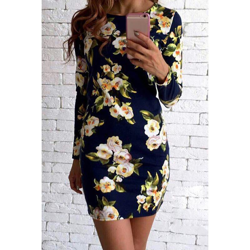 Spring Summer Dress Women 2018 Sexy Slim Floral Vintage Ladies Office Dress Elegant Party Bodycon Dresses WS5067V