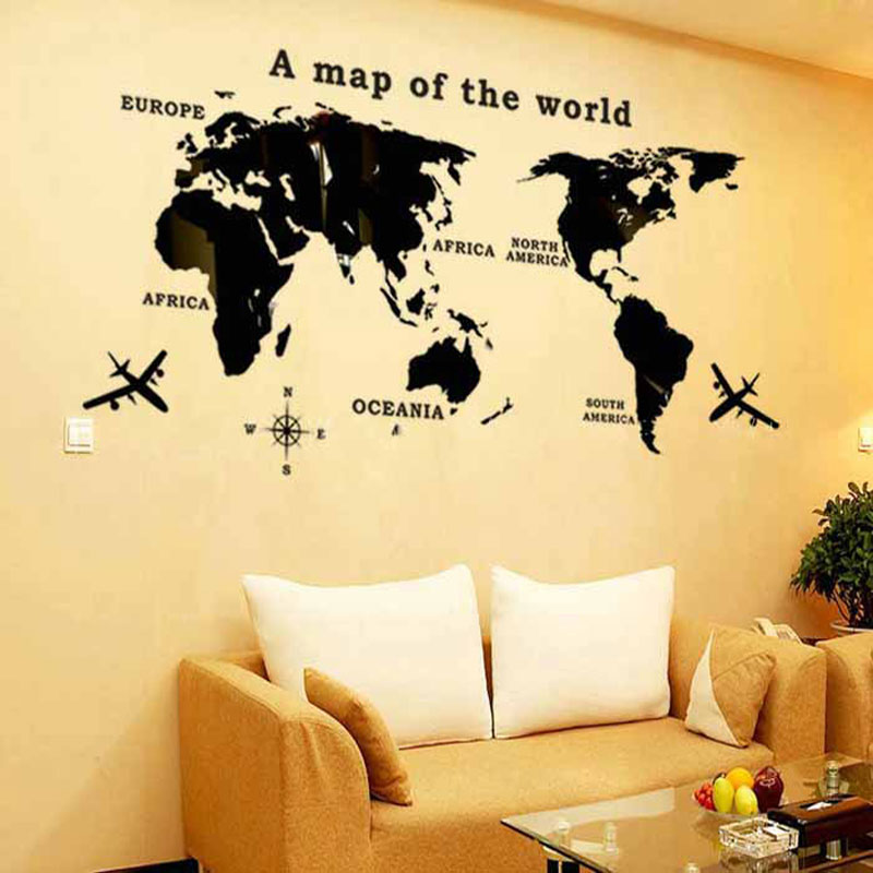 3D World Map Mirror Wall Stickers Art Background Wall Acrylic ...