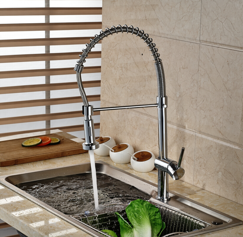 ФОТО Newly Single Handle Brass Kitchen Sink Mixer Water Faucet Dual Sprayer Kitchen Water Taps Chrome Finish