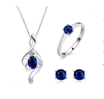 Natural Blue Sapphire 925 Sterling Silver Jewelry Set Gemstone Jewelry For Woman Fashion Set Wedding/Party Gift