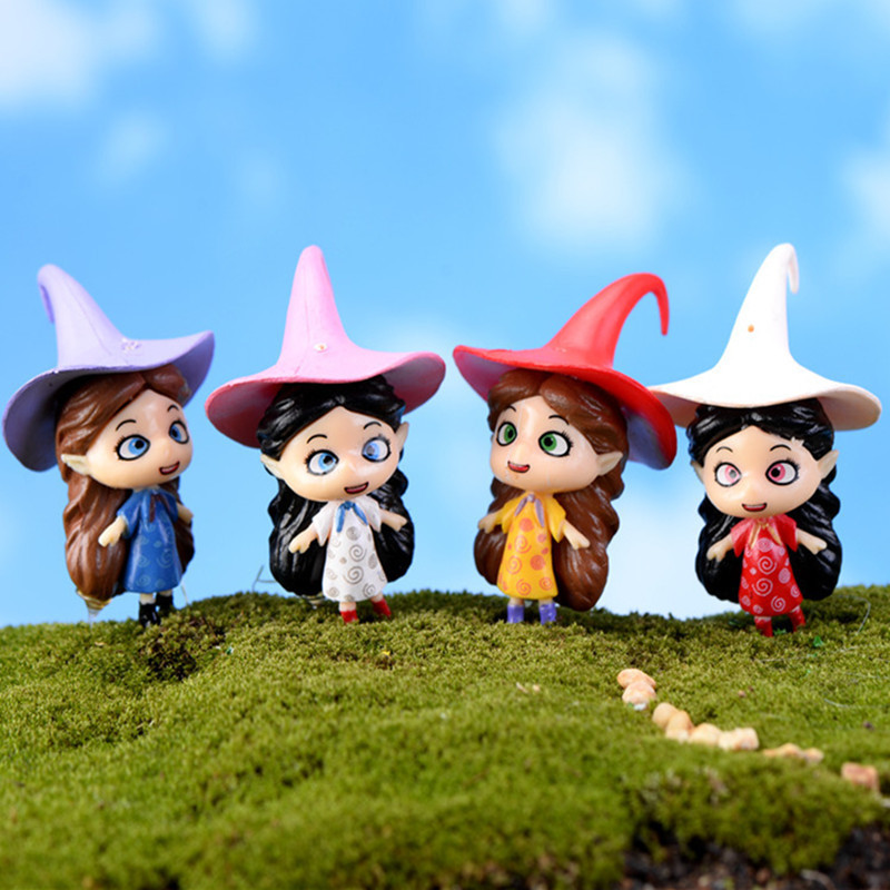 2Pcs Kawaii Fleshy Magic Witch Steeple Hat Doll Anime Cartoon Figures Fairy Garden Miniatures Home Decor Accessories