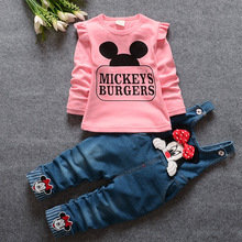 Spring Autumn Baby Girls Clothing Set Toddler Long Sleeve Blouse + Denim Overalls Jeans Pants Kids Clothes Set Suit