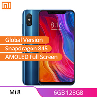 Italy Stock Xiaomi Mi 8 6GB RAM 128GB ROM Global Version Cell Phone AI Dual Camera IR Face 6.21 AMOLED Full Screen Snapdragon