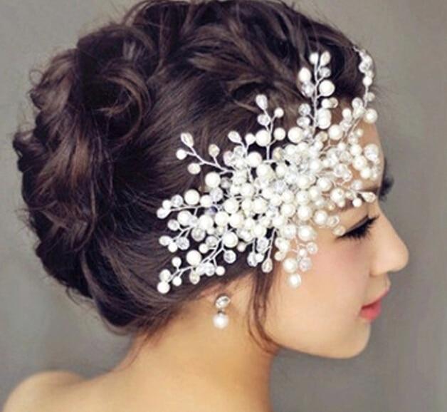 Envío libre 2016 accesorios de la perla de la flor tiara Nupcial pelo de la boda