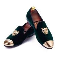 Harpelunde Men Loafer Shoes Animal Buckle Green Velvet Slippers Handmade Flats Gold Cap Toe Wedding Shoes