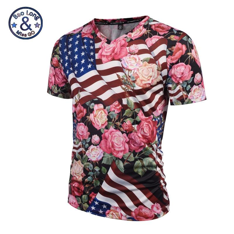2019 Jauni modes vīrieši / sievietes rožu t krekls vasaras / pavasara topi 3D druka ASV karogs rozā rozes ziedi drukāti V kakla krekliņš krekls # V006