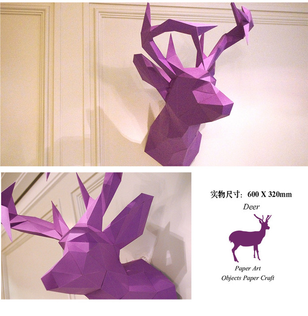 3D Paper Model Deer Head papercraft animal home hallowee wall decoration Puzzles Educational DIY Toys birthday Gift for Children
