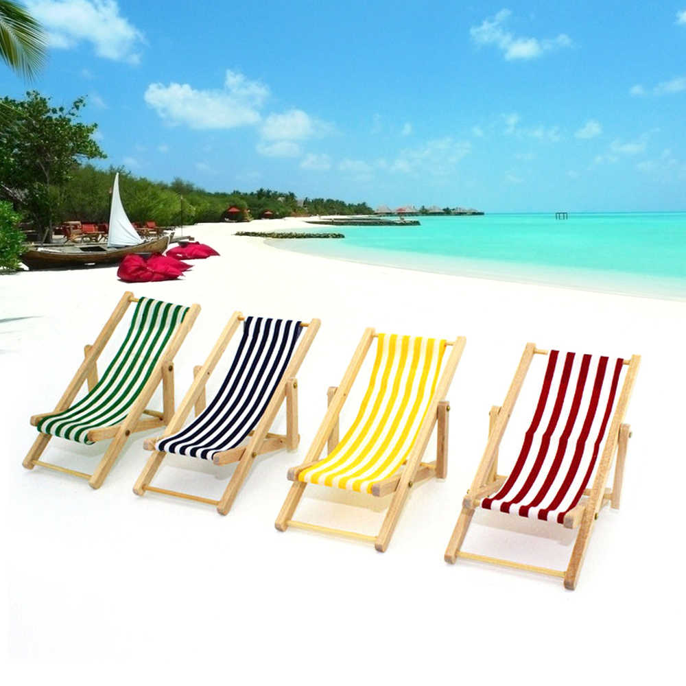 Sunbathing Chairs 1 12 Mini Stripe Foldable Wood Beach Chair Recliner Sunbathing Chair Chaise Lounge Chair Dollhouse Furniture For Barbie Toy