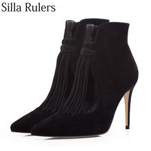 20b9920b68 Silla Rulers Kid suede leather fringe ankle boots women Hollow out sexy  pointed toe high heels