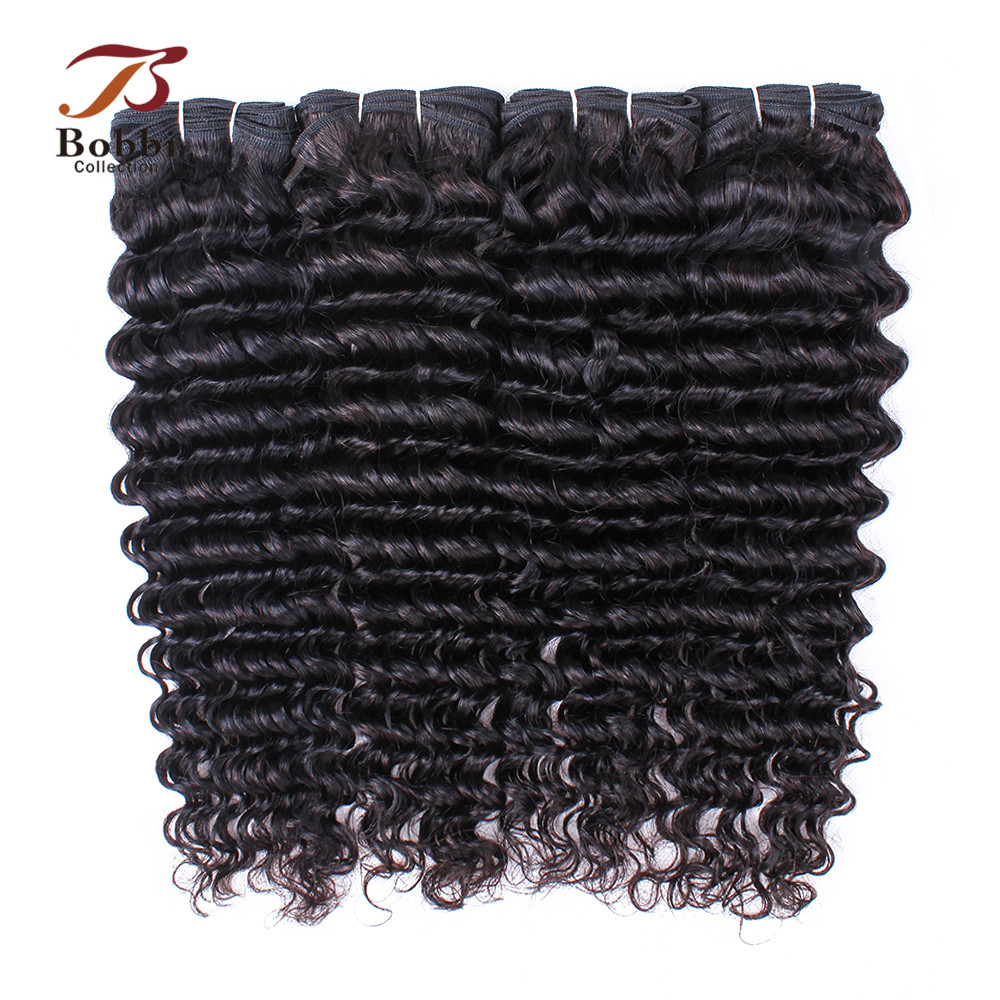 Bobbi Collection 3/4 Bundles Indian Deep Wave Hair Weave Bundles Natural Brown Color 10-26 inch Thick Remy Human Hair Extension
